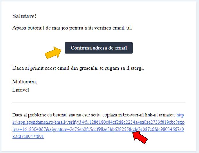 Email Confirmare validare cont programari online